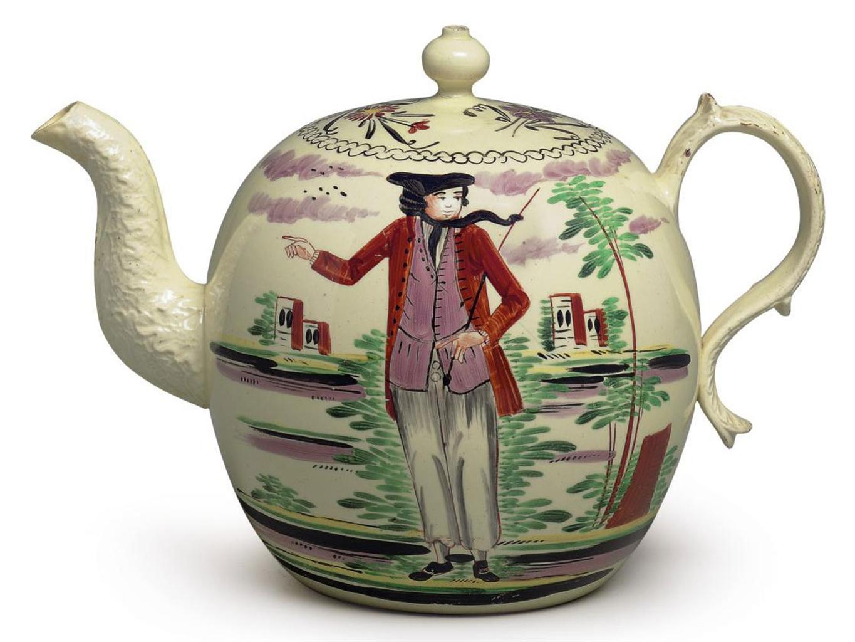 A Wedgwood Creamware Globular Teapot And Cover Circa