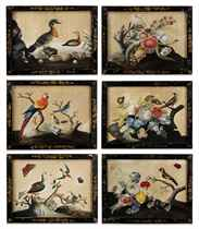 A SET OF SIX IRISH GEORGE II EMBOSSED BIRD PICTURES
