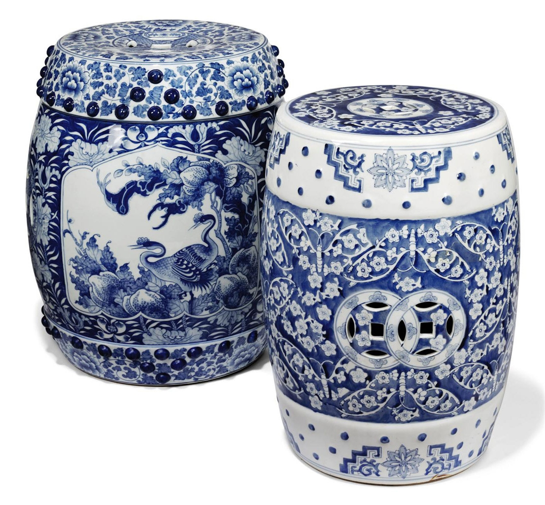 Two Chinese Blue And White Porcelain Pierced Barrel Shaped