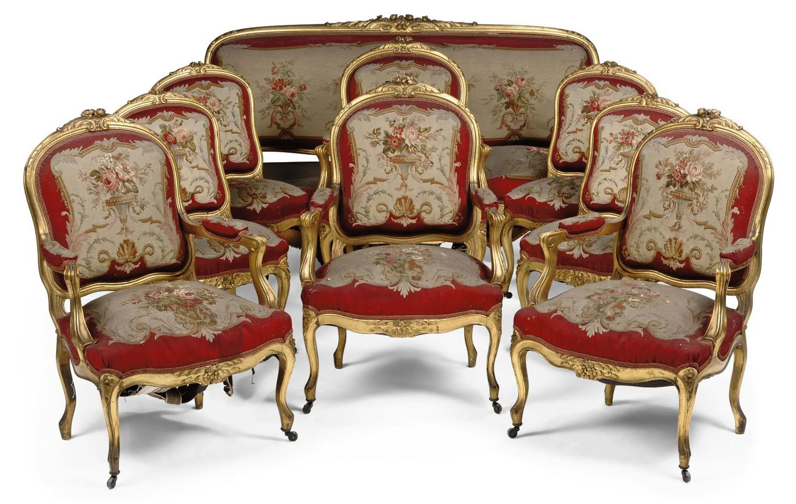 a french giltwood and aubusson salon suite of louis xv style late 19th century interiors. Black Bedroom Furniture Sets. Home Design Ideas