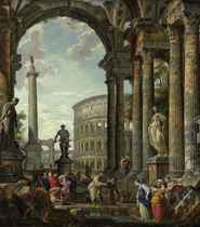 An architectural capriccio with the philosopher Diogenes and other figures by a fountain beneath a portico with the Colosseum, the column of Trajan, Hercules and the Hydra, the Farnese Hercules, and the Farnese Flora