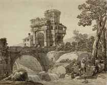 A landscape with a bridge and classical ruins in the distance, a family fishing by a stream in the foreground