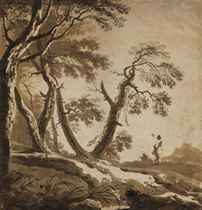 A wooded landscape with a shepherdess on a wooded path