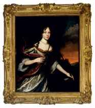 Portrait of a lady as Diana, three quarter length, wearing a white and lavender satin dress in a landscape with a dog