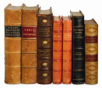 A LARGE GROUP OF LEATHER BOUND BOOKS,