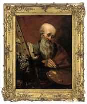 Saint Luke painting at his easel
