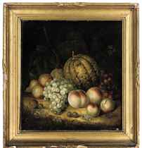 A pumpkin, apples, grapes, pears, cherries, gooseberries, berries and a plum on a mossy bank