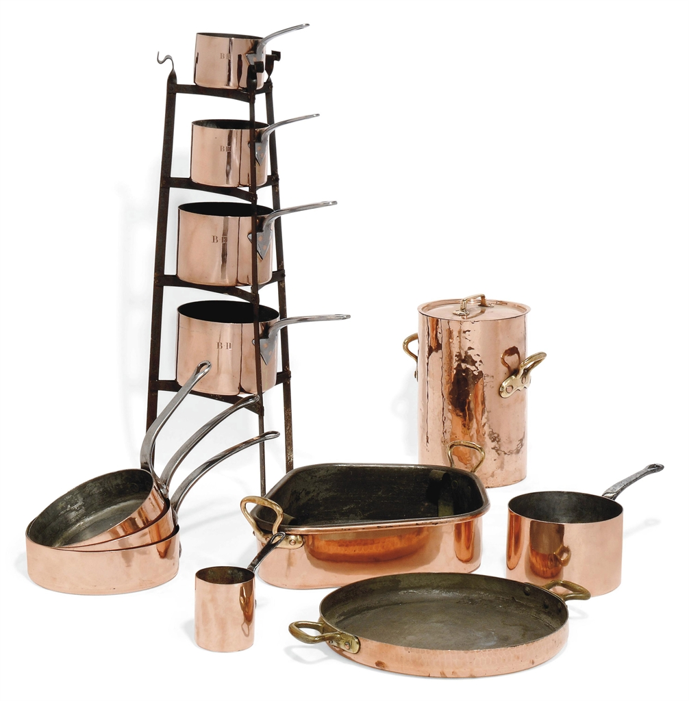 A COLLECTION OF FRENCH AND ENGLISH COPPER COOKING UTENSILS