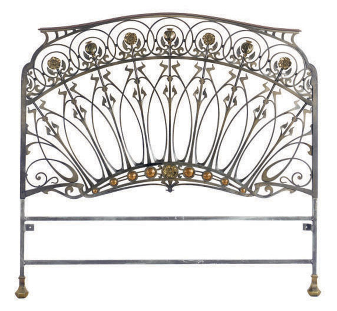 A French Wrought Iron And Gilt Bronze Twin Size Headboard