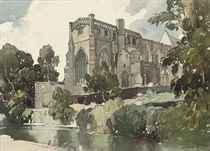 A small collection of topographical views including: Christchurch Priory, Dorset (illustrated); Farley Chamberlayne church, Hampshire; Summer evening, Bolton Abbey, Yorkshire; Monk Bretton Abbey, Barnsley, Yorkshire; and Easby Abbey, Richmond, Yorkshire