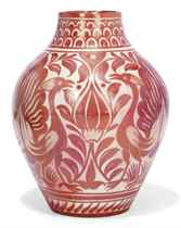 A WILLIAM DE MORGAN STONEWARE RUBY LUSTRE VASE