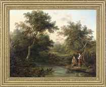 A wooded river landscape with figures fishing