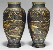 A pair of inlaid-iron vases