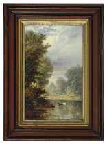 Canoeing on the river by moonlight; and a companion painting