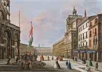 Vue de la place Saint Marc à Venise, avec la Torre dell'Orologio à droite et la basilique à gauche