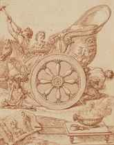 Char triomphal romain attelé et son conducteur jouant de la trompette; Saint Mathieu, saint Simon, saint Jude et saint Matthias; et Ensemble de butins amassés
