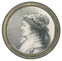 Portrait d'une femme de profil portant un bonnet