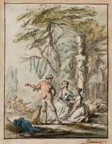 Deux femmes écoutant un musicien dans un jardin
