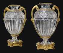 A LARGE PAIR OF FRENCH ORMOLU-MOUNTED DEEP-CUT CRYSTAL VASES