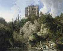 A hawking party in a rocky landscape, a castle beyond