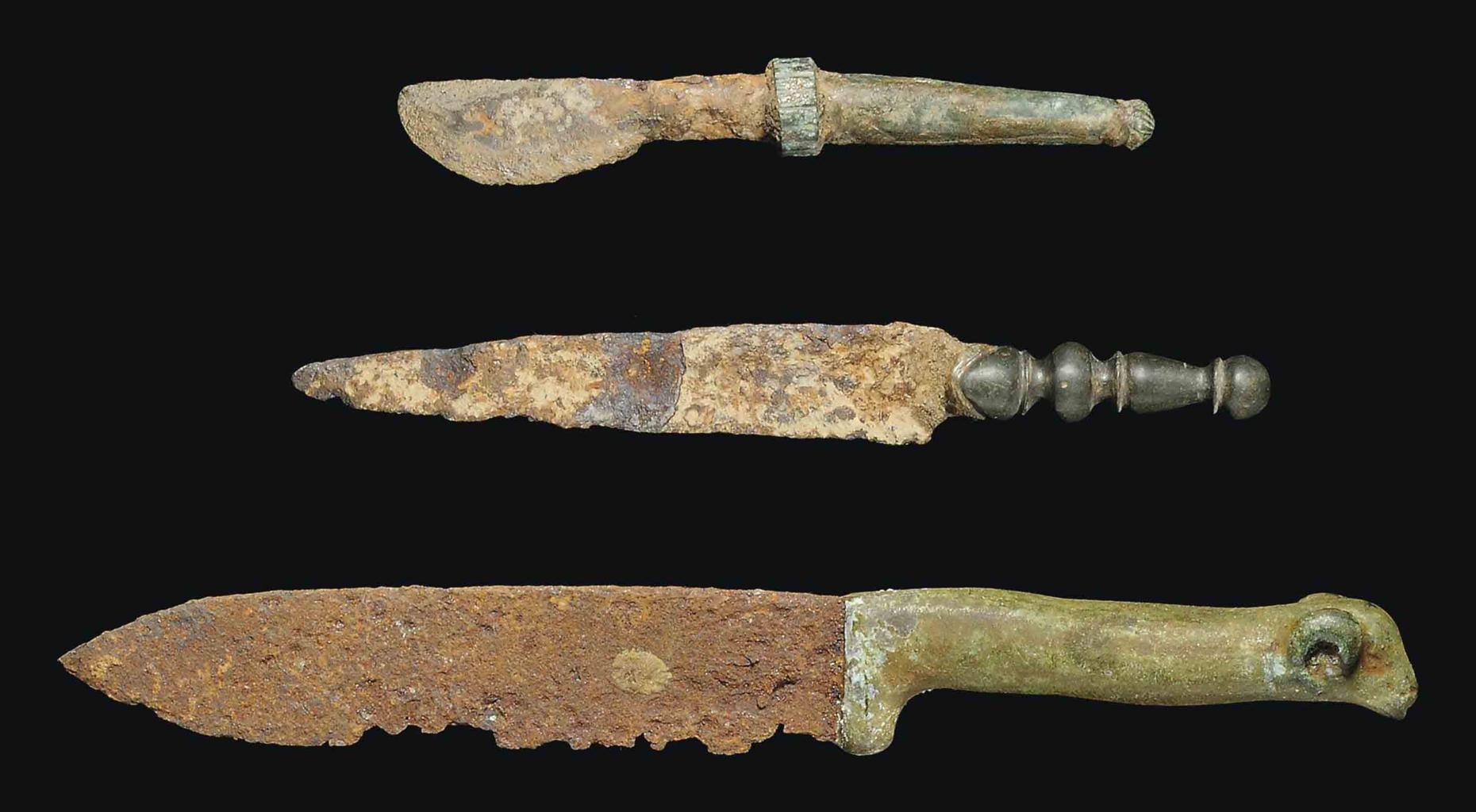 Three Roman Bronze And Iron Knives Circa 2nd 3rd Century