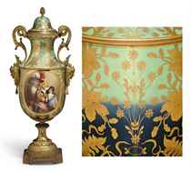 AN ORMOLU-MOUNTED VIENNA STYLE PORCELAIN IRIDESCENT SEA-FOAM GREEN AND COBALT-BLUE GROUND VASE AND COVER, 'LADY SMYTHE & CHILDREN'