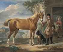 John Shafto of Bavington Hall, and Whitworth Hall, Northumberland, holding a hunter, in a landscape, with a groom and stable beyond