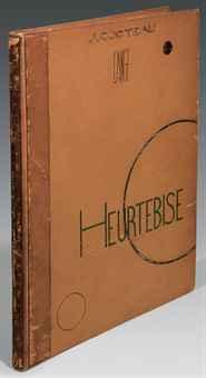 COCTEAU, Jean (1889-1963). L'Ange Heurtebise. Poème, avec une photographie de l'ange par Man Ray. Paris: imprimerie Kapp pour Stock, 1925. In-folio (377 x 275 mm). Héliogravure d'après un rayogramme de Man Ray.