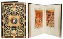LOUYS, Pierre (1870-1925). Aphrodite. Moeurs antiques. S.l.: Pour le compte de Henri Couderc de Saint-Chamant, 17 mars 1910. Petit in-folio (330 x 215 mm). 43 AQUARELLES ORIGINALES (11 à pleine page et 33 dans le texte) SIGNÉES E[dmond] MALASSIS et datées 1911 ou 1912 (3 d'entre elles ont un encadrement original aquarellé de Giraldon, les autres le même encadrement imprimé); 2 vignettes originales (non signées) d'Adolphe Giraldon; 6 têtes de chapitre et chaque page dans un encadrement imprimé dessiné par Giraldon et aquarellé à la main.