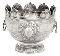 A VICTORIAN SILVER REPRODUCTION OF A WILLIAM III MONTEITH BOWL