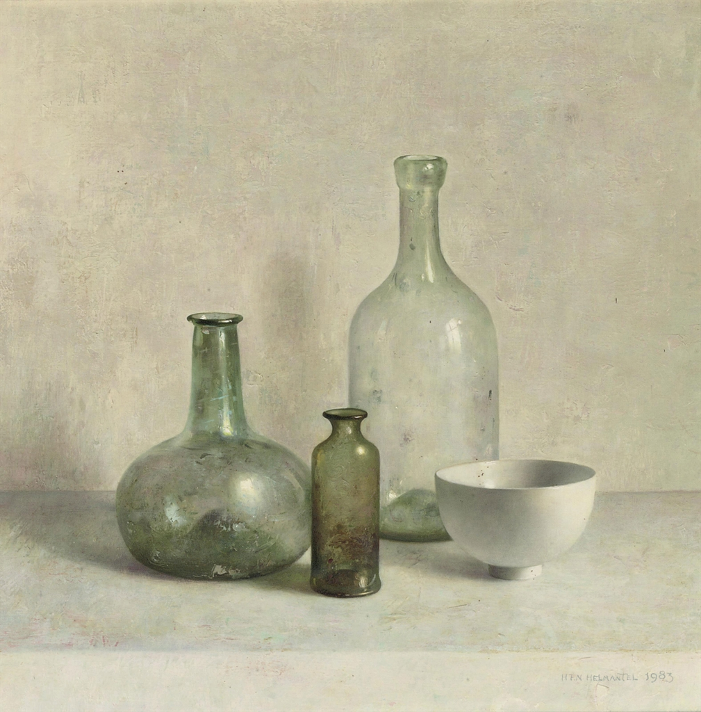 Henk helmantel b 1945 a still life with a roman glass Painting old glass bottles