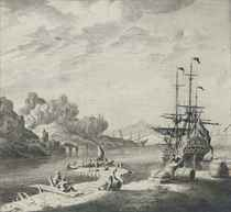 A Dutch man'o-war at anchor in the Mediterranean, lying off a jetty, with figures on the foreshore