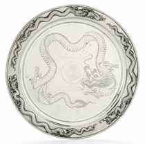 A CHINESE EXPORT METALWARE SALVER