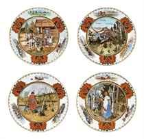 A SET OF FOUR PORCELAIN PLATES