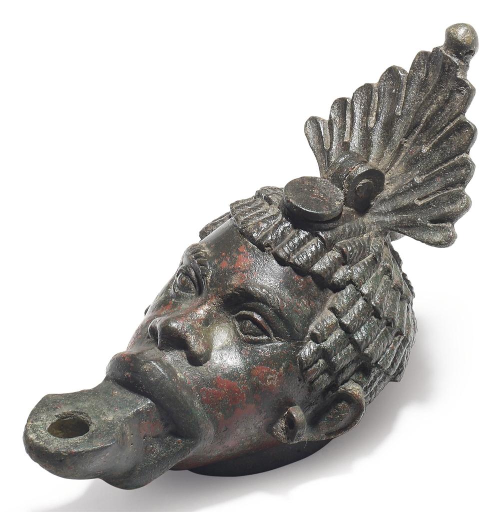 A Roman Bronze Oil Lamp Circa 1st Century A D Ancient