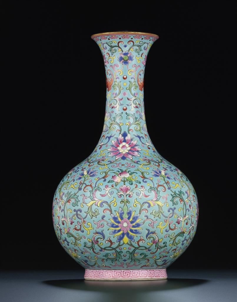 A Rare Turquoise Ground Famille Rose Bottle Vase