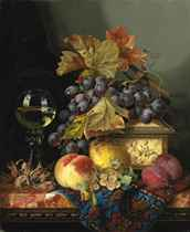 A roemer with a casket, grapes, plums, cobnuts, whitecurrants, a pear and a peach on a marble ledge