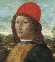 Portrait of a gentleman, bust-length, in a red hat, a landscape beyond