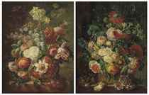 Roses, parrot tulips, narcissi and other flowers in a basket on a stone ledge; and Roses, morning glory, carnations and other flowers in a basket on a stone ledge