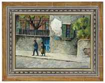 A family strolling the Rue Norvins, Montmartre