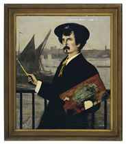 Portrait of James Abbott McNeill Whistler in front of the Thames