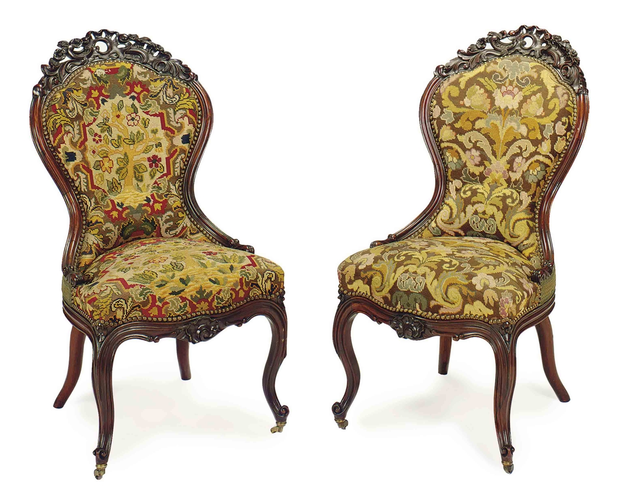 A set of six rococo revival salon chairs american late for Rococo style furniture