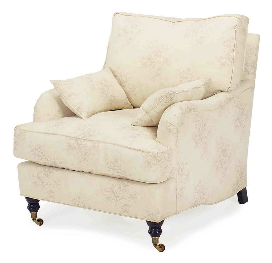 A Pair Of Cream Patterned Cotton Upholstered Club Chairs