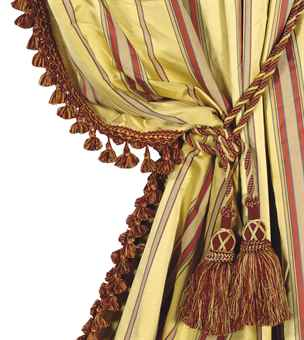 four gold and red striped silk curtain panels with