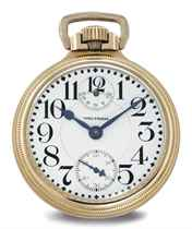 WALTHAM. A 10K GOLD-FILLED OPENFACE KEYLESS LEVER POCKET WATCH WITH UP-AND-DOWN
