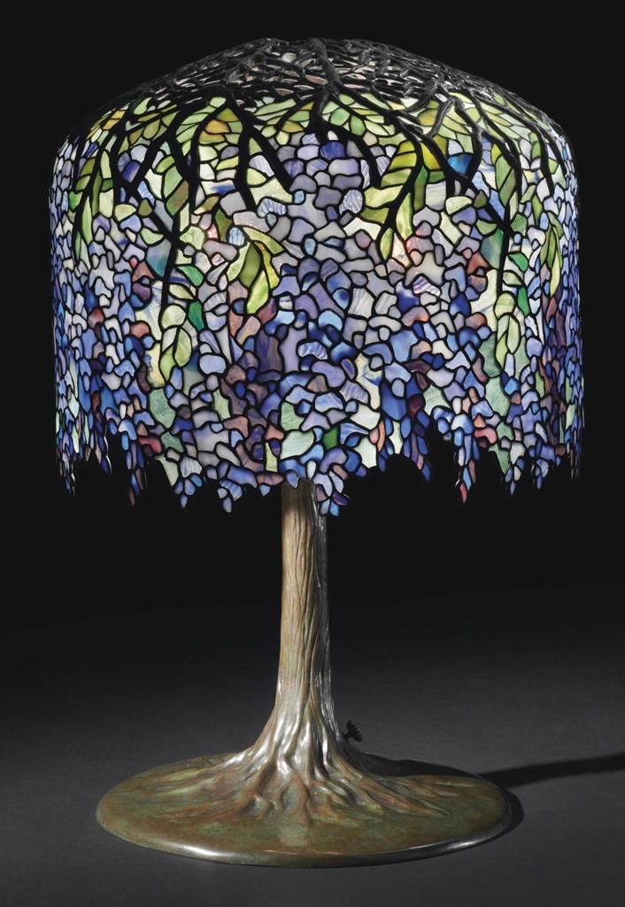 Tiffany Studios A Wisteria Leaded Glass And Bronze