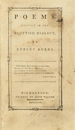burns, robert (1759-1796). <i>poems chiefly in the scottish dialect.</i> kilmarnock: john wilson, 1786.