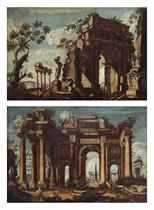 A capriccio of a classical ruin with figures; and A capriccio with figures admiring a sculpture near a classical arch