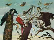 A concert of birds: peacocks, a parrot, a herron, a tucan, pigeons, a vulture, magpies, a bat and various other birds on a tree branch