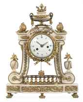 A LOUIS XVI ORMOLU-MOUNTED WHITE MARBLE MANTEL CLOCK